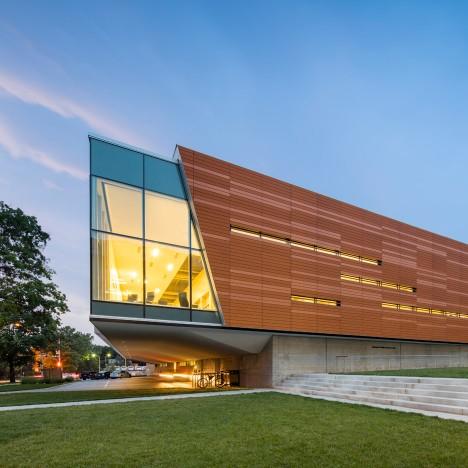 Gould Evans adds vibrant orange skin to Brutalist library in Kansas