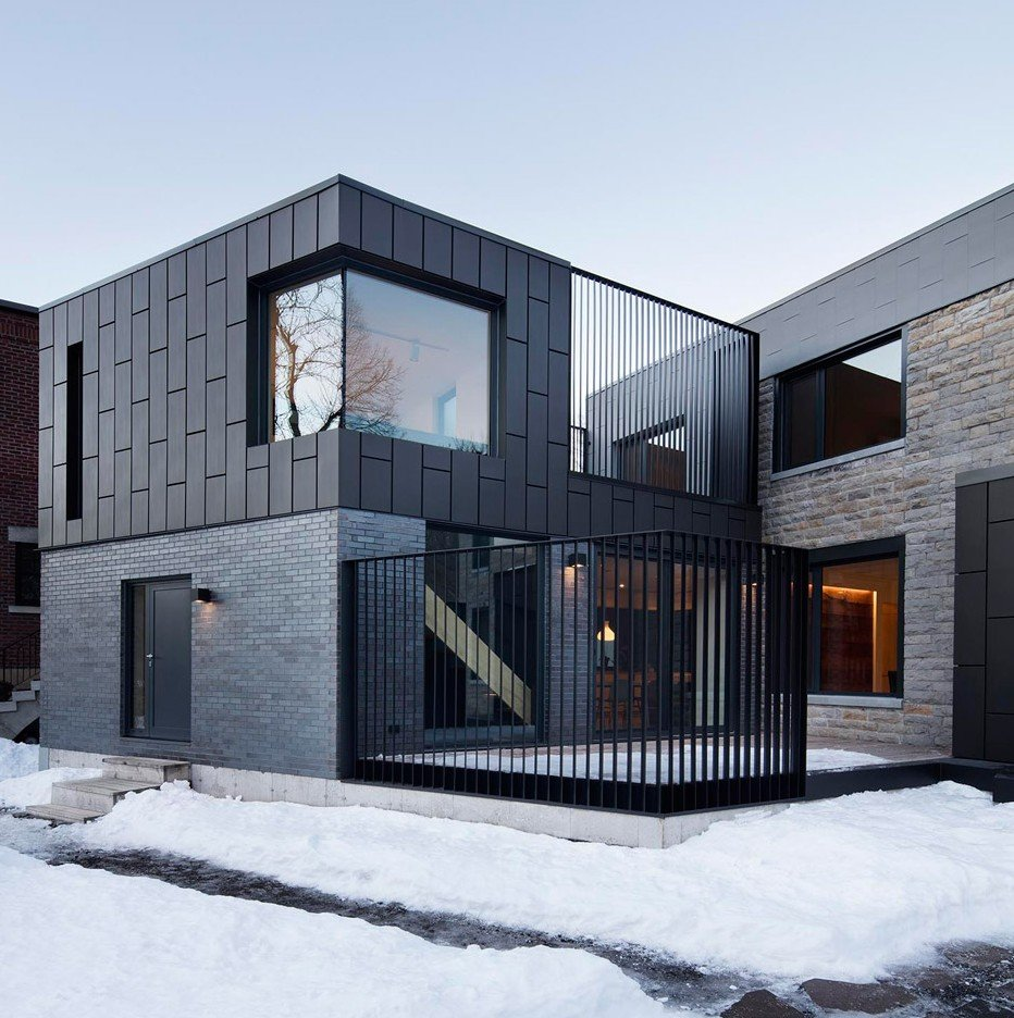 Naturehumaine adds zinc clad extension to montreal home for Local residential architects near me