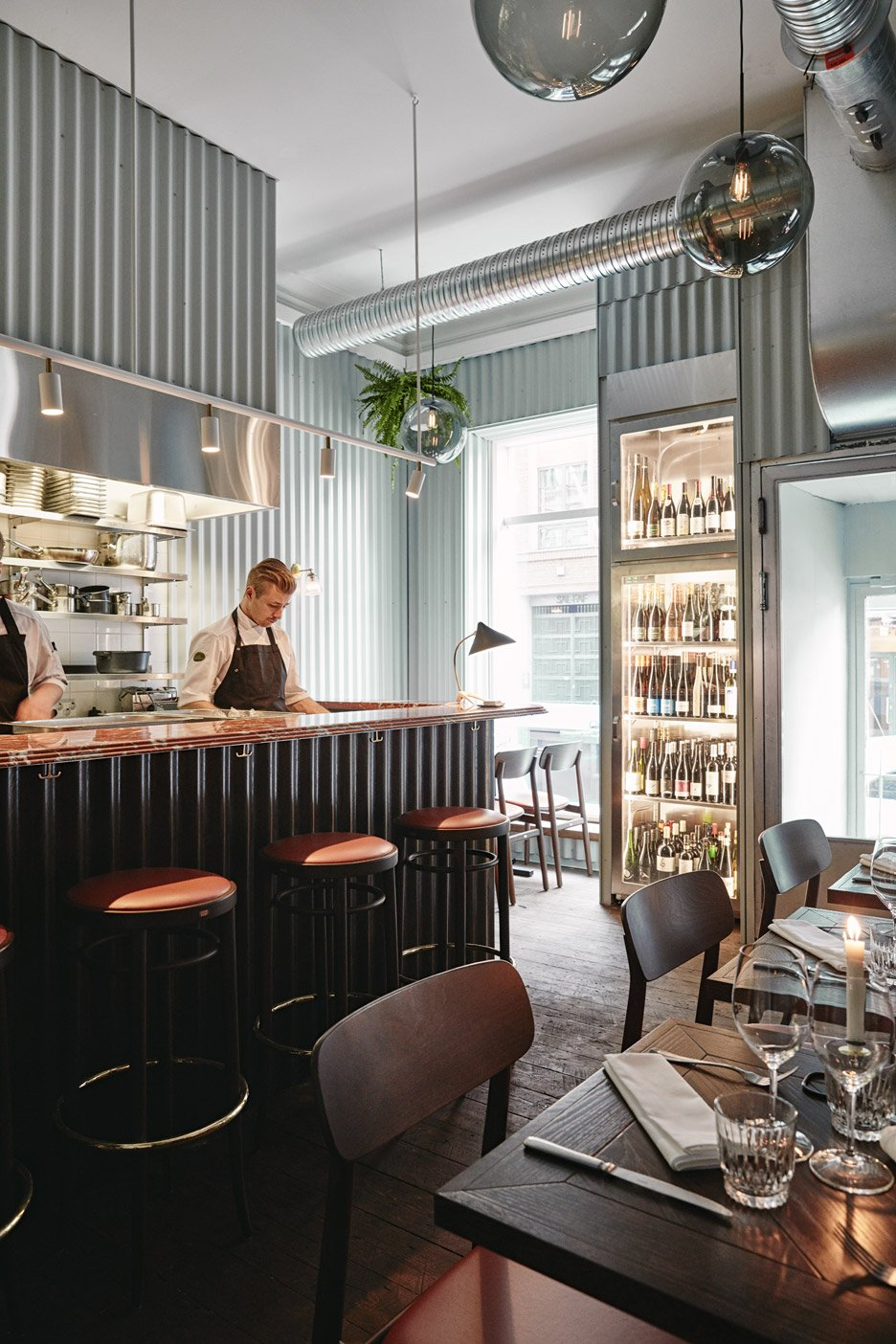 Joanna Laajisto lines Helsinki restaurant walls with corrugated metal