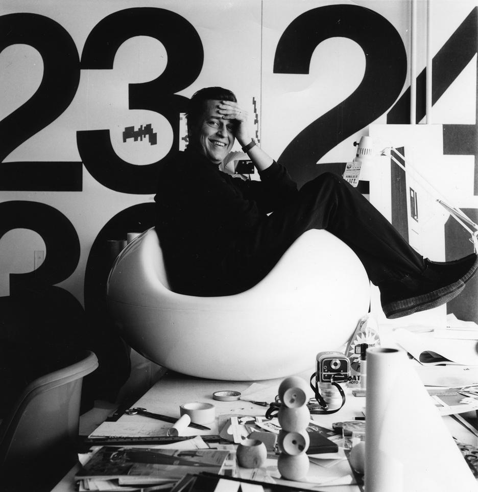 Eero Aarnio in the Pastil Chair in his studio, 1968