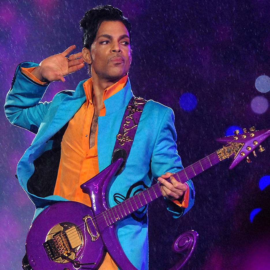 "Prince with ""love symbol"" guitar"