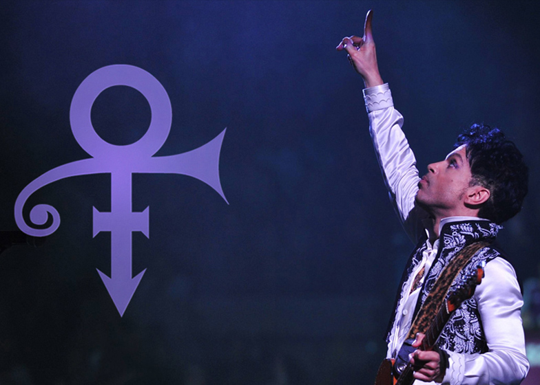 "Prince with his ""love symbol"""