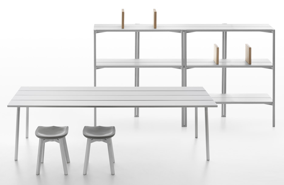 Industrial Facility designs plank topped tables for Emeco