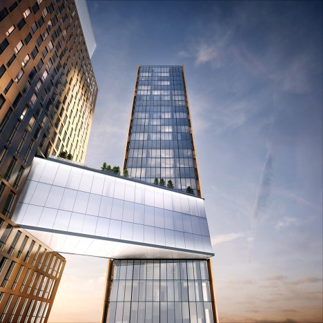 Skybridge with a swimming pool will link pair of Manhattan towers by SHoP