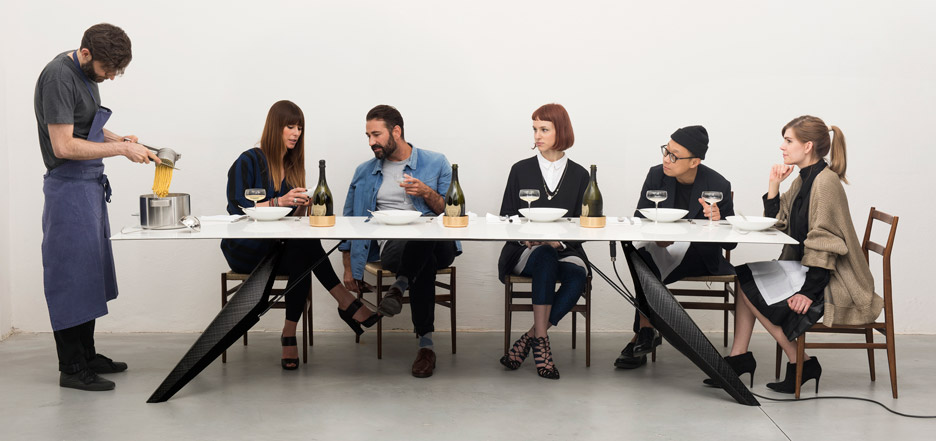 Kram/Weisshaar's SmartSlab dining table has hidden tech to cook food and chill drinks