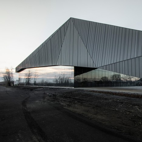 Crystalline soccer stadium by Saucier + Perrotte and HCMA references Canadian mining landscape