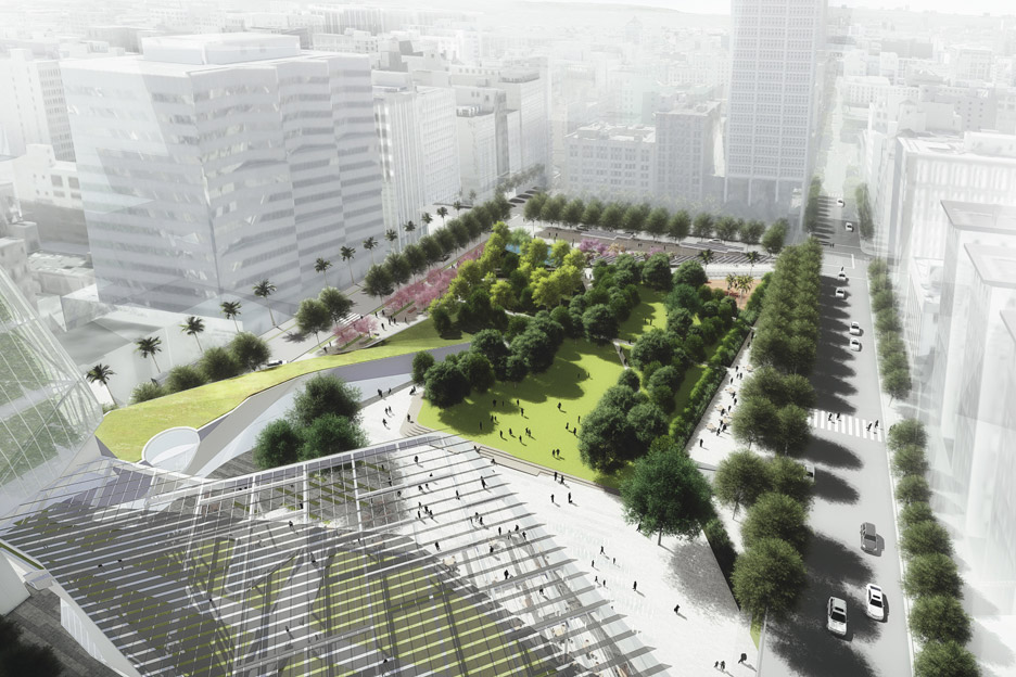 Morphosis and SWA's Local Force proposal for Pershing Square
