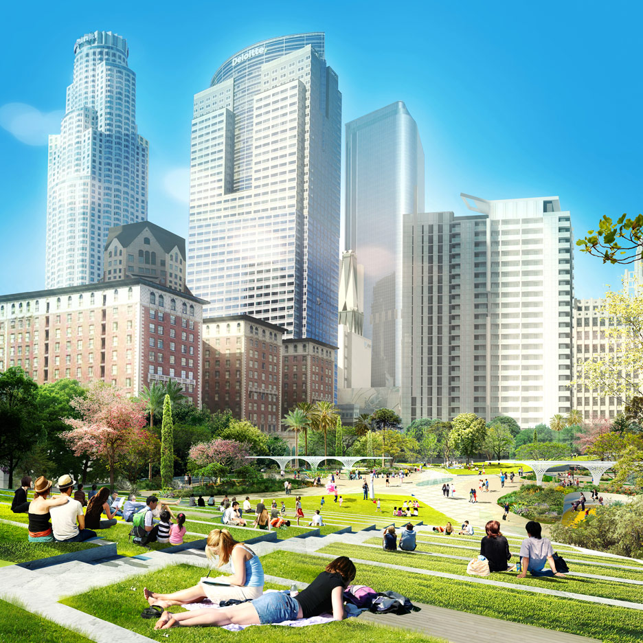 James Corner Field Operations and Frederick Fisher & Partners' Landscape Starchitects proposal for Pershing Square
