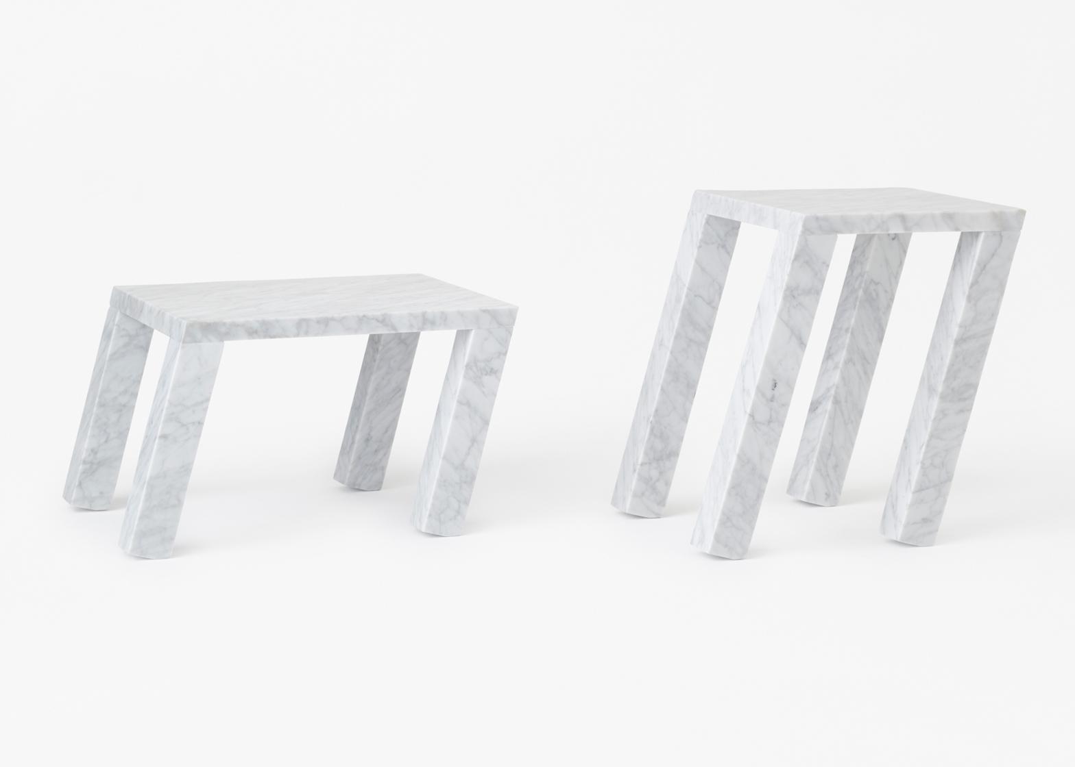 Nendo designs leaning marble tables for Marsotto Edizioni