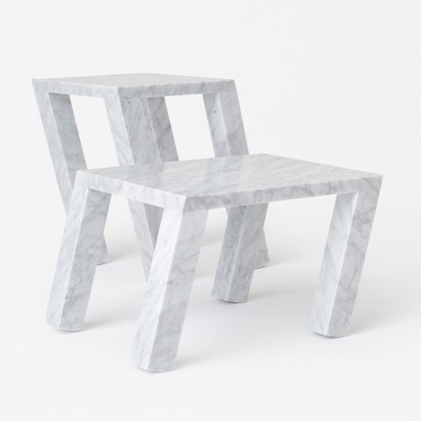 Nendo designs leaning marble tables for Marsotto Edizioni