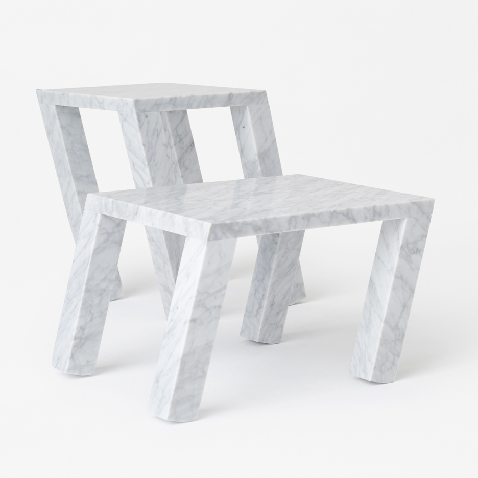 Nendo's marble Sway side table for Marsotto Edizioni