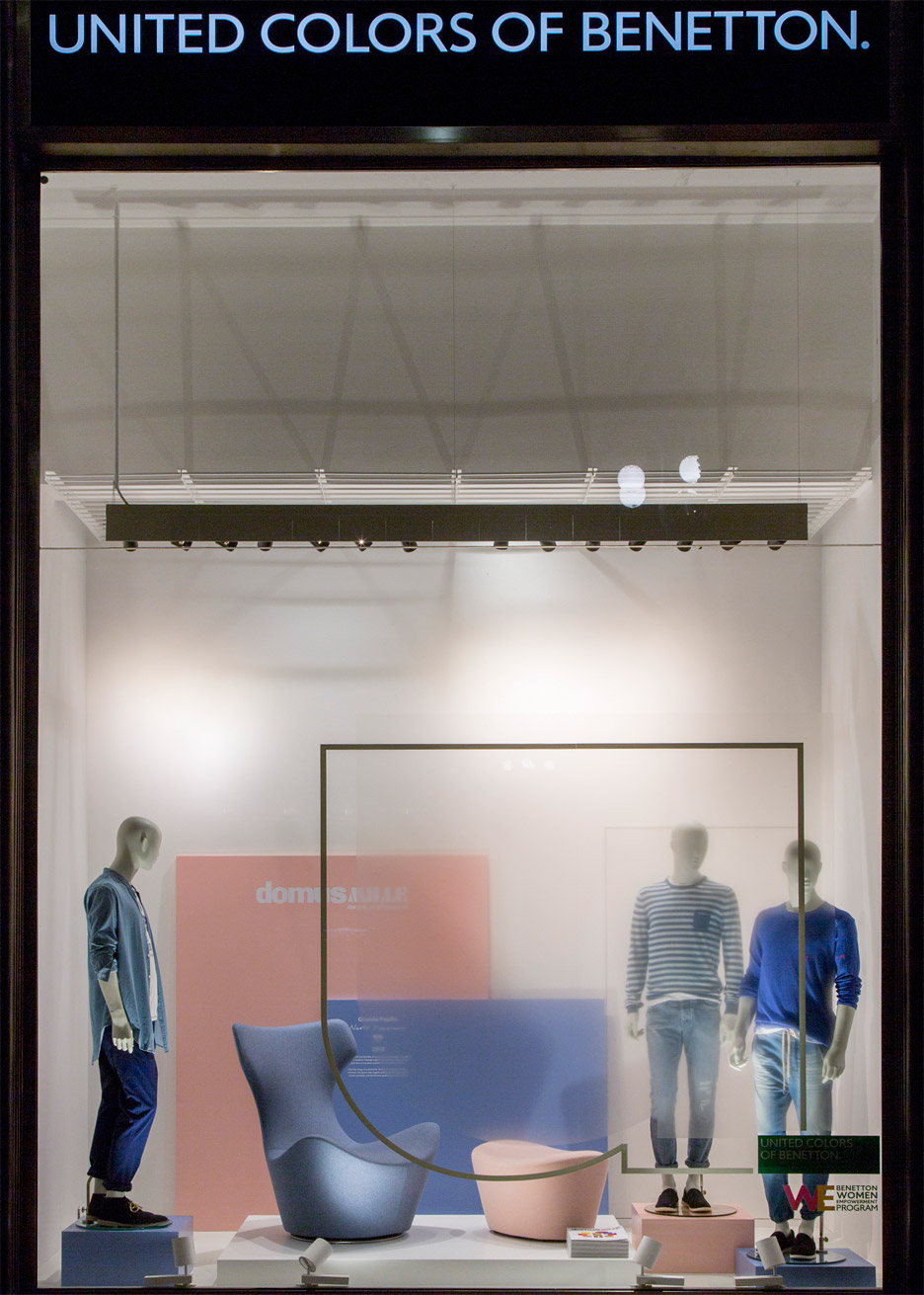 Tribute to Domus window display by Fabrica in Rose Quartz Serenity pantone colours of the year at United Colors of Benetton Milan Design Week
