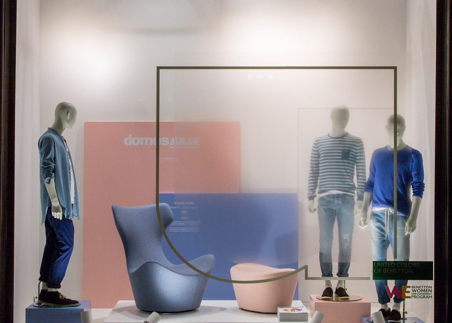 Tribute to Domus window display by Fabrica in Rose Quartz Serenity pantone colours of the year at United Colours of Benneton Milan Design Week