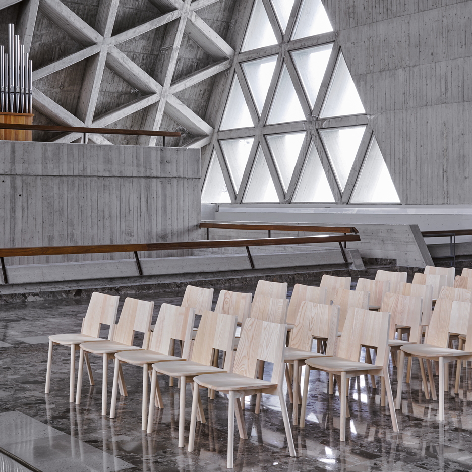 Industrial Facility's stackable Tronco chair for Mattiazzi is designed for church congregations