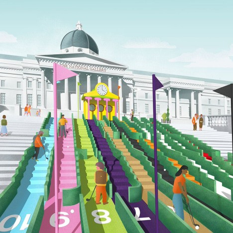 Zaha Hadid and Paul Smith design holes for crazy golf course in London's Trafalgar Square