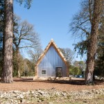 Invisible Studio uses only waste timber for arboretum buildings in Gloucestershire
