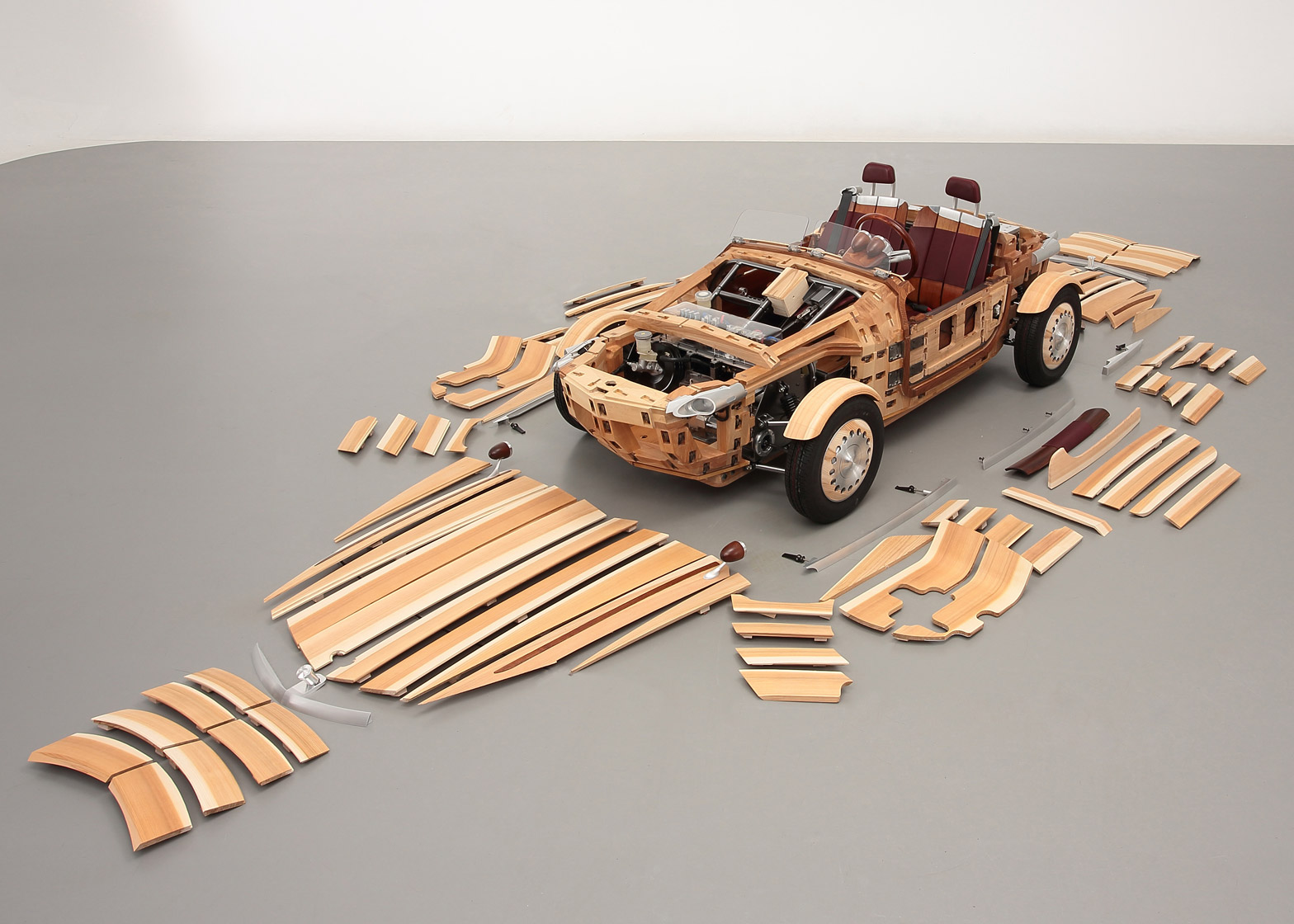 Wooden Toyota Setsuna concept car for Milan design week 2016