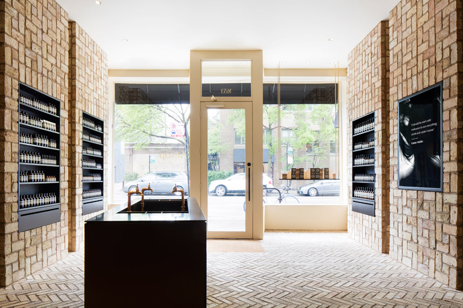 Aesop Bucktown Chicago USA Interior Design By Norman Kelley Using Herringbone Bricks