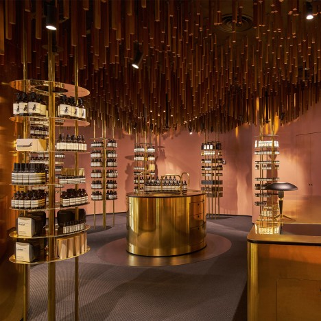 "Aesop ION store in Singapore features Snøhetta-designed ""upside-down forest"""