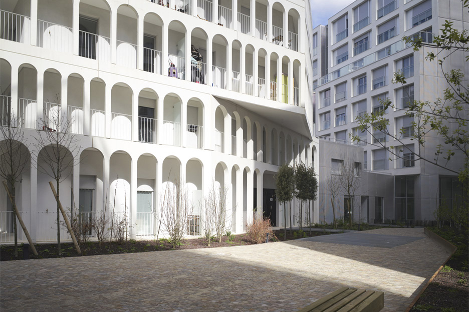 Photograph by Julien Lanoo of Arches Boulogne by Antonini Darmon, a social housing scheme in Paris, France