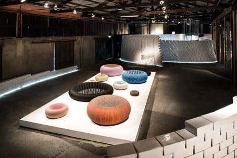 Bertjan Pot's woven seats at Nike's The Nature of Motion exhibition in Milan