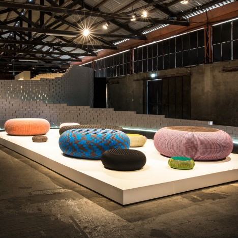 Bertjan Pot weaves shoelaces around inner tubes to create inflatable seats for Nike