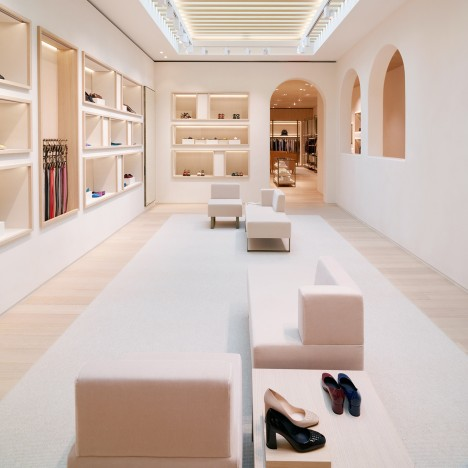 Bottega Veneta's Maison boutique in Beverly Hills features arched openings and neutral colours