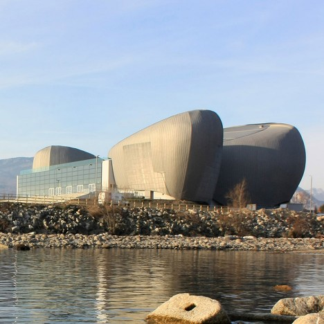 Lakeside theatre designed by Bargone Associati to look like huge rocks