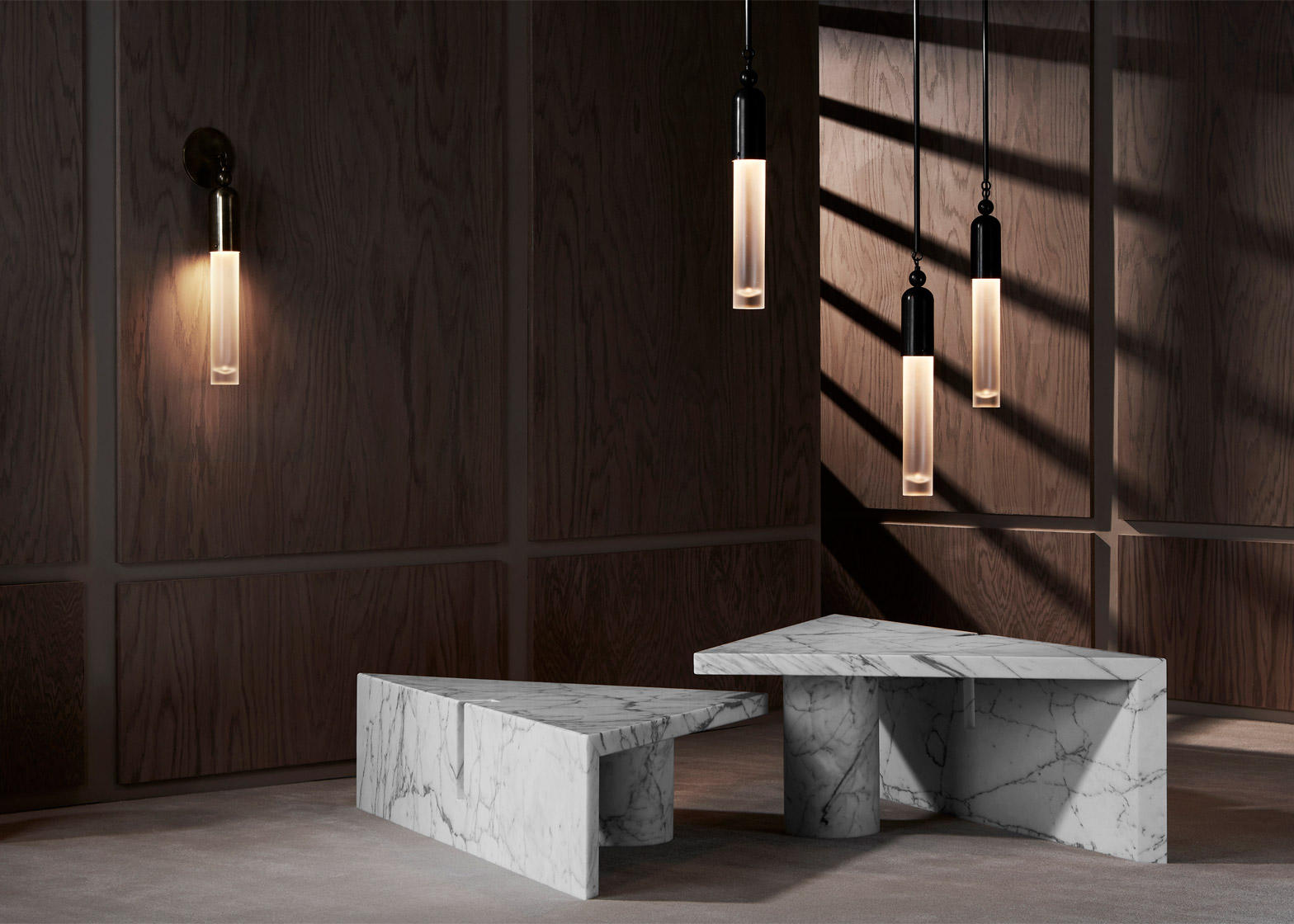 Apparatus Extends Furniture And Lighting Collection With Marble And Brass  Pieces