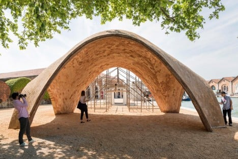 Norman Foster reveals vaulted Droneport prototype at Venice Architecture Biennale