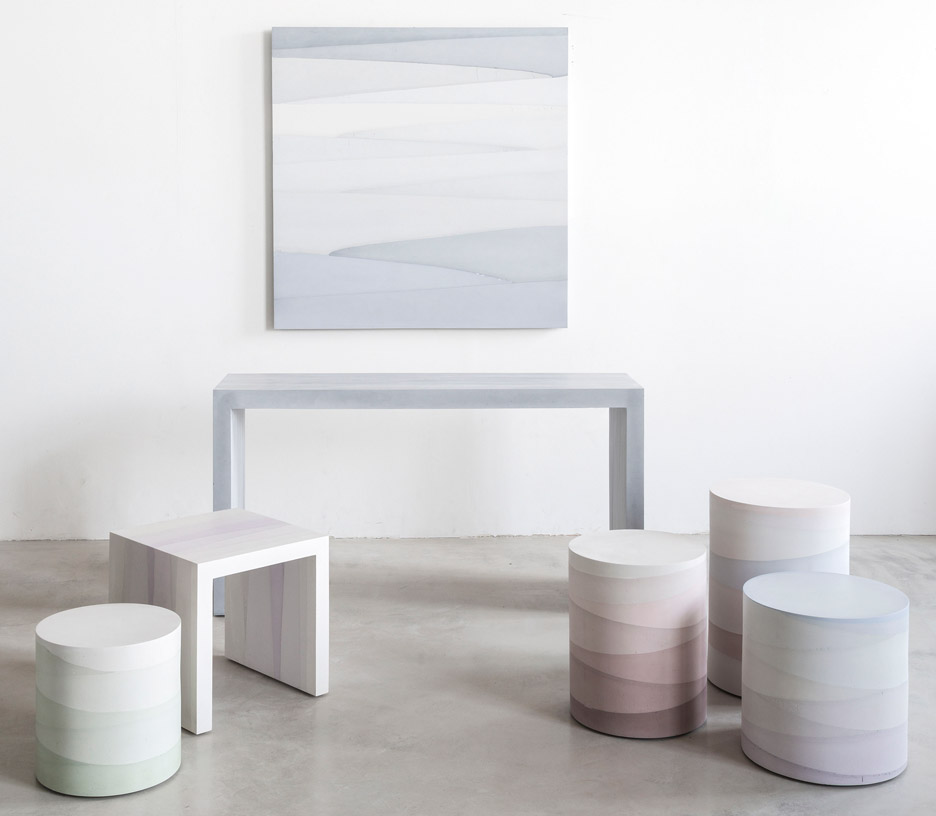 The Fade series of sculptural furniture by Mastrangelo's MMaterial collection shown at New York Design Week