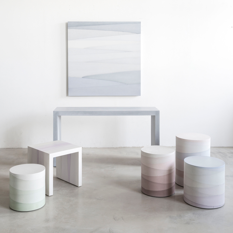 Fernando Mastrangelo casts Fade furniture from dyed cement