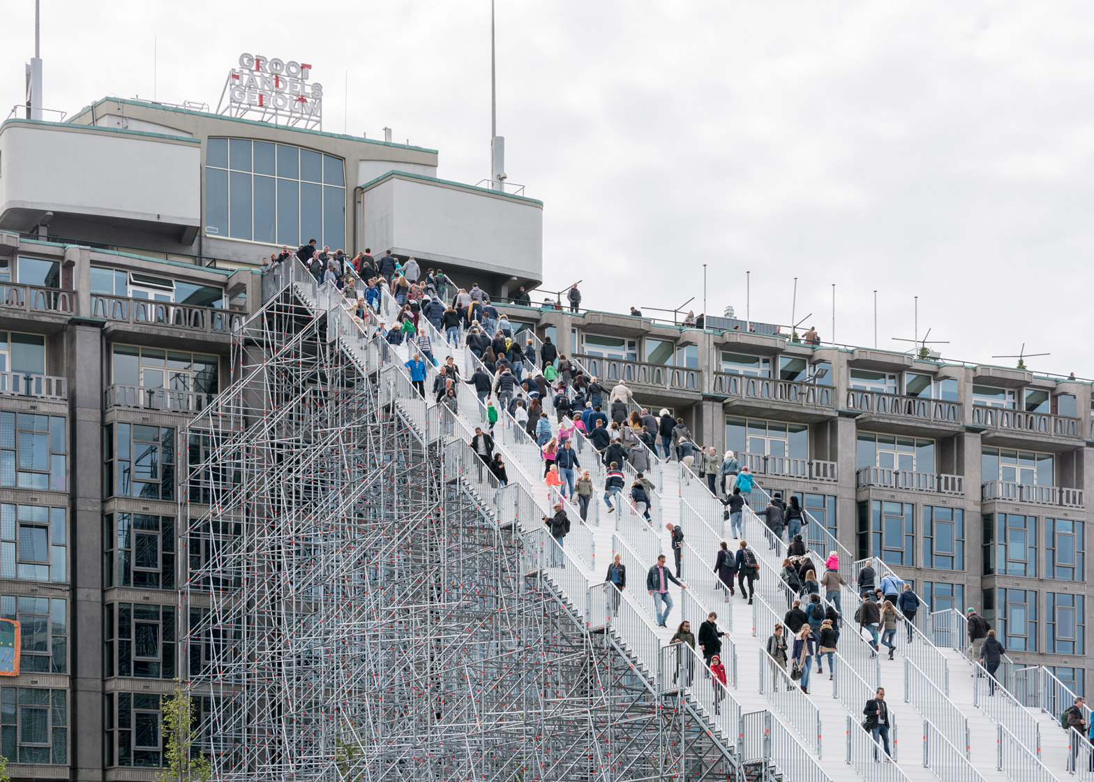 6 Of 6; MVRDV Completes The Stairs, A Giant Scaffolding Staircase In  Rotterdam City Centre