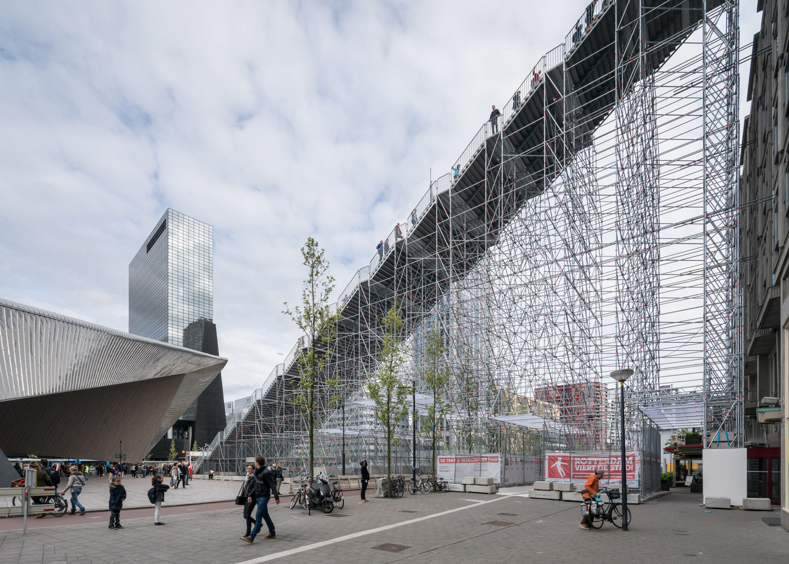 1 Of 6; MVRDV Completes The Stairs, A Giant Scaffolding Staircase In  Rotterdam City Centre