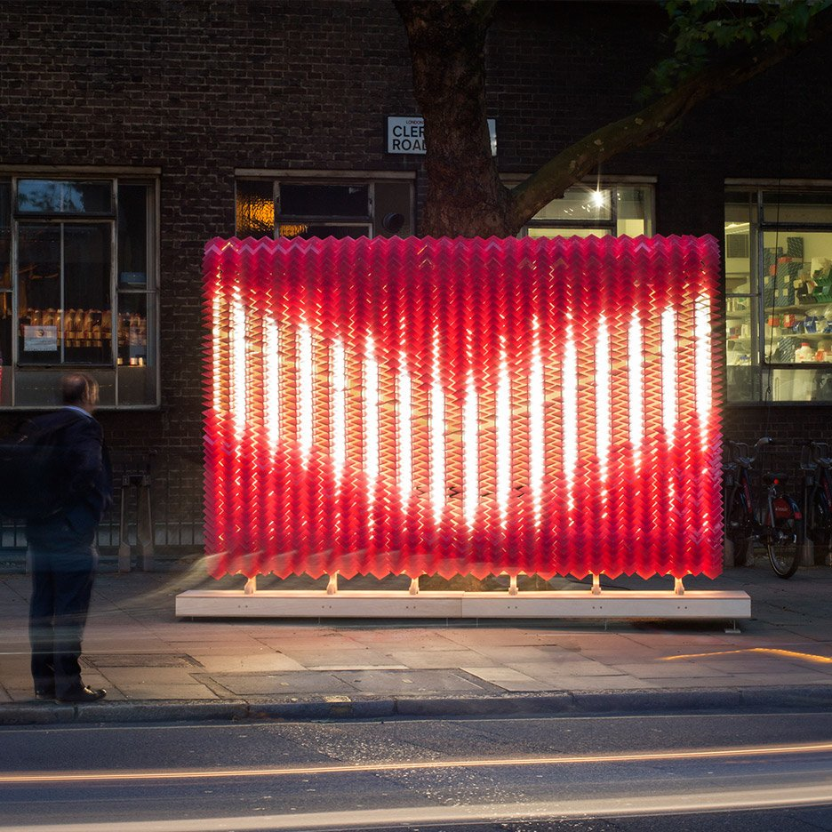 Scale-like glass tile sculpture installation as wayfinding for Clerkenwell Design Week 2016 by Giles Miller Studio