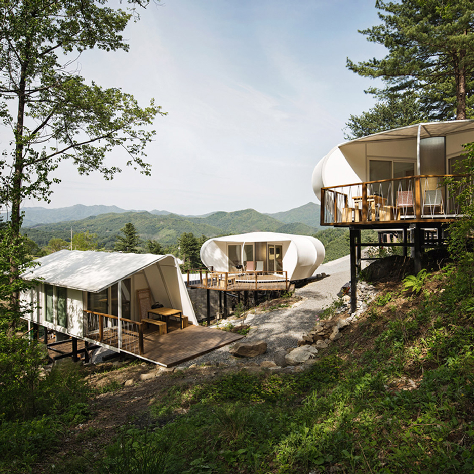 Wooden Cabins And Tents On Stilts Provide Accommodation At South Korean  Glamping Site