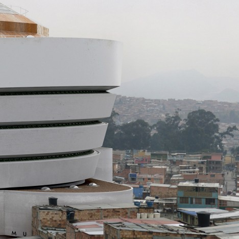 Victor Enrich superimposes New York's Guggenheim onto a troubled Colombian suburb