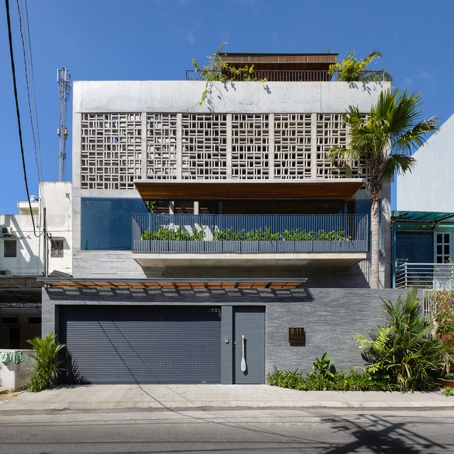 H House features a geometric patterned facade and an indoor swimming pool
