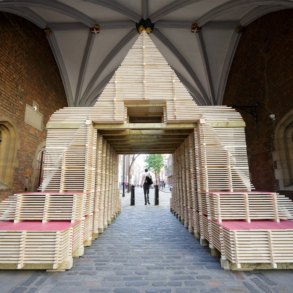 Flea Folly Architects designs high temple of timber in a monastic archway