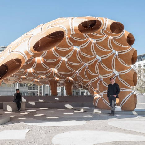 Robotically fabricated pavilion by University of Stuttgart students is based on sea-urchin shells