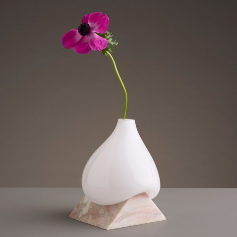 Studio EO's Indefinite Vases pair melting glass with cut stone bases