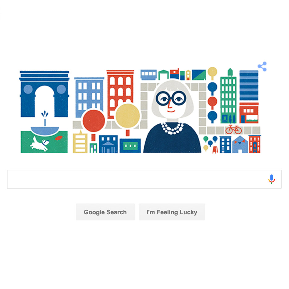 Google Doodle celebrates urban design writer and activist Jane Jacobs