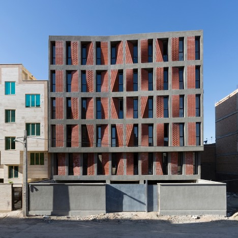 Perforated brick screens act as curtains for Tehran housing by CAAT Studio
