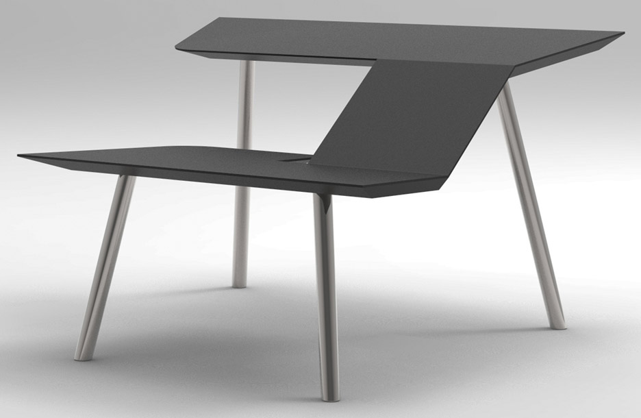 The Last Writing Desk designed by Frans Willigers is a chair and desk hybrid.   & Frans Willigers addresses useless work furniture with hybrid desk