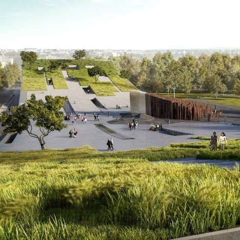 Napur Architect wins Budapest museum contest with huge skateboard-ramp design