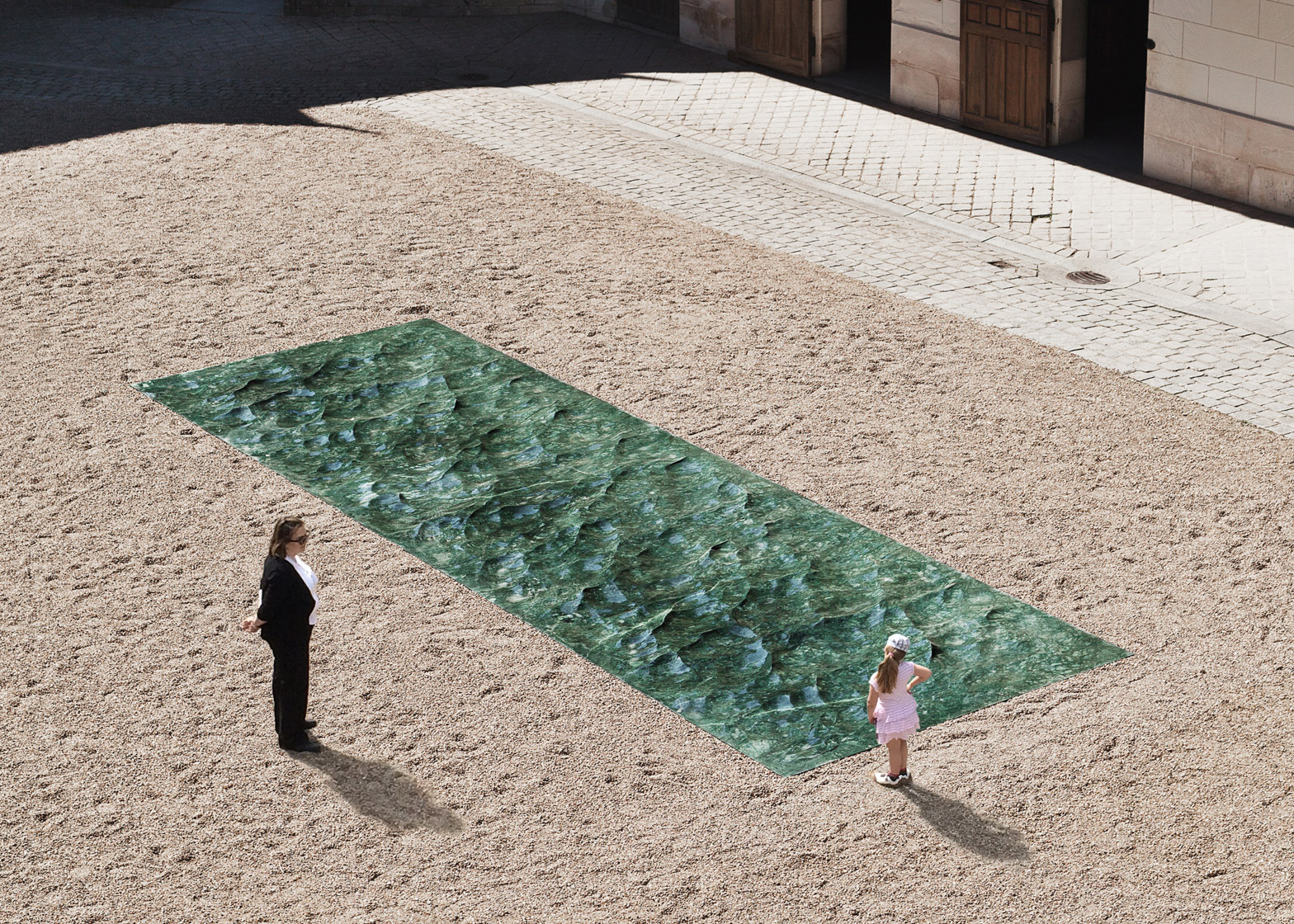 Liquid marble sculpture by Mathieu Lehanneur for the Petite Loire Installation at the International Garden Festival