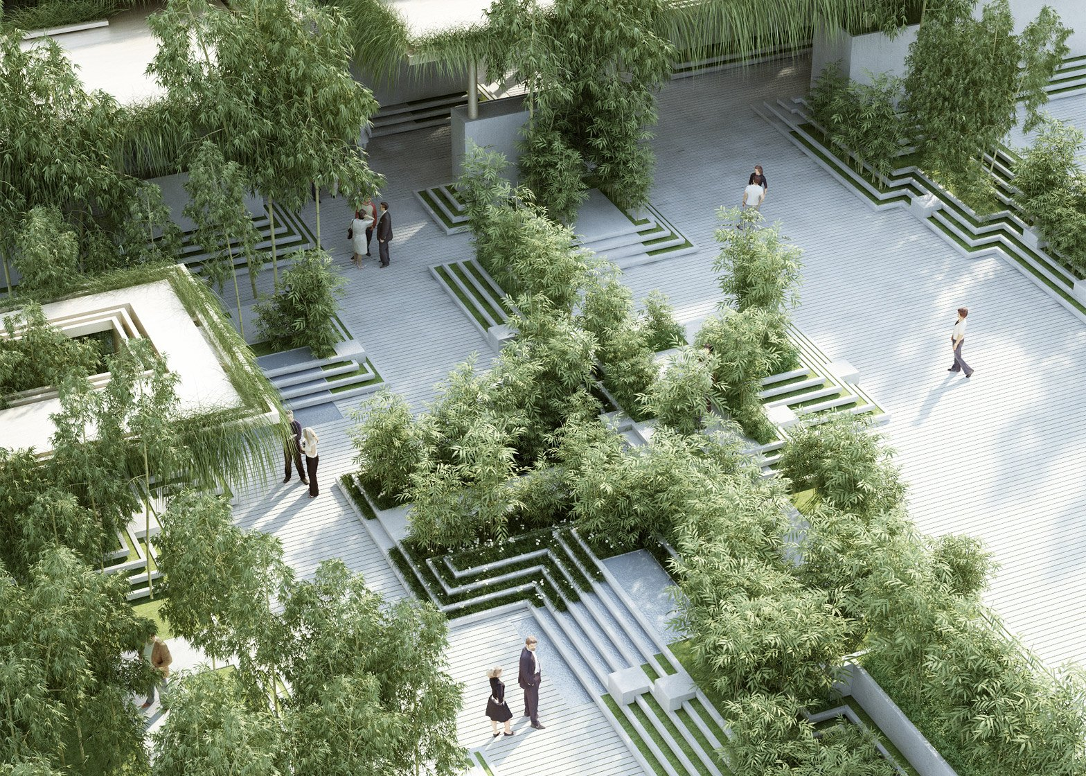 Penda combines stepwells with water mazes for Indian garden design