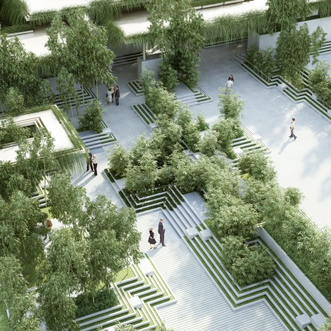 Penda combines stepwells with water mazes for Indian garden design