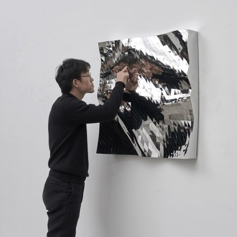 Zhoujie Zhang uses algorithms to mimic water for Mashing Mesh mirrors