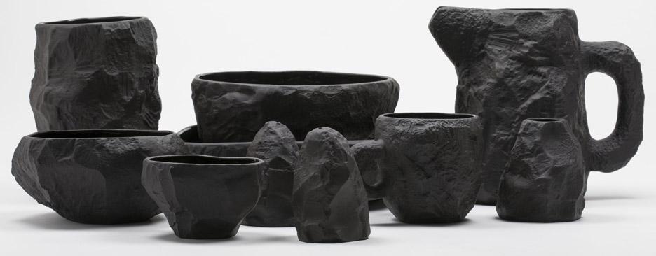 Max Lamb creates range of tableware from black basalt